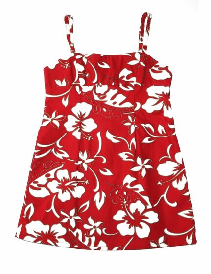 Girls Hawaiian Dress Spaghetti Straps Classic Hibiscus Pareo 100% Cotton Fabric Adjustable Spaghetti Straps Color: Red Sizes: XXS - XL Made in Hawaii - USA