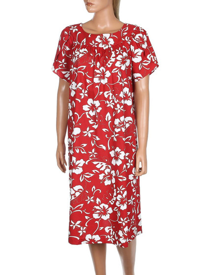 Short Hawaii Muumuu Pull Over Classic Hibiscus Pareo 100% Cotton Fabric Color: Red Sizes: XS - 3XL Petal Style Sleeves and Round Neckline Comfortable Fit - Pull Over Dress Single Side Pocket Made in Hawaii - USA