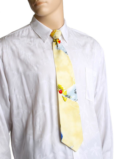"""Happy Hour Hawaiian Aloha Necktie Awesome tropical patterns and colorful designs, perfect for casual and formal events 100% Cotton Fabric Color: Power Yellow Length: 53"""" Width: 4"""" At wide end Made in Hawaii"""