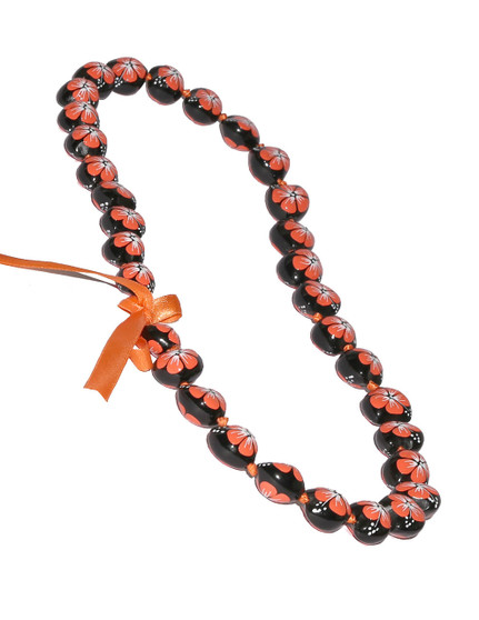 Orange Hand Painted Flower Polished Kukui Nut Candlenut Lei Linked Kukui Lei Design Durable - Long-lasting Unscented - Hypoallergenic Color: Orange Length: 38 Inches Circumference Imported Do you need flower accessories for your big event? Ask about quantity discounts.