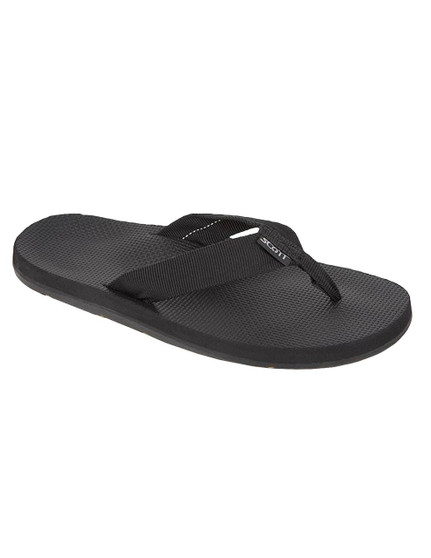 Rubber Outsole Men Black Sandals Scott Hawaii Makaha All rubber outsole with molded arch Textured Rubalon insole with heel cup Tubular nylon strap Color: Black Sizes: 7 - 13 Imported