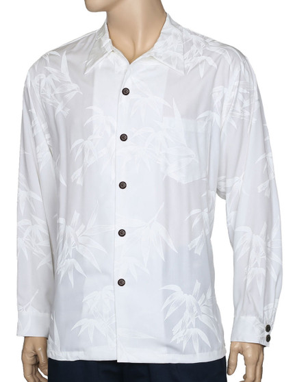 White Wedding Hawaiian Shirt Long Sleeves Bamboo 100% Quality Rayon Poplin Hidden Button-Up Collar Closure Coconut Shell Buttons - Seamless Matching left pocket Double Coconut Shell Buttons on Cuff Color: White Care: Hand wash cold. Do not bleach. Line dry Made in Hawaii - USA