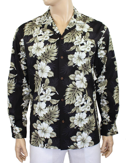Black Long Sleeve Hibicus Panel Haku Laape Shirt 100% Cotton Fabric Coconut shell buttons Matching left pocket Color: Black Sizes: M - 2XL Made in Hawaii - USA