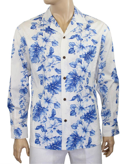 Long Sleeves White Royal Blue Tropical Shirt Haku Laape 100% Cotton Fabric Coconut Shell Buttons Matching Left Pocket Color: White/Royal Blue Sizes: M - 2XL Made in Hawaii - USA