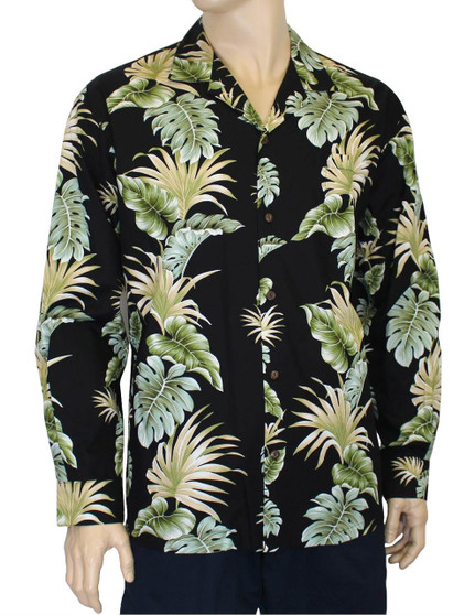 Long Sleeves Hawaiian Shirt Lei of Aloha  100% Cotton Fabric Coconut Shell Buttons Matching Left Pocket Color: Black Sizes: S - 2XL Made in Hawaii - USA