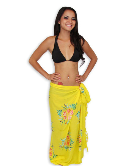 """Beach Yellow Sarong with Hibiscus Design This Hawaiian Beach Yellow Sarong is perfect for your next tropical event. 100% Rayon Color: Yellow Size: 62"""" X 46"""" inches Imported"""