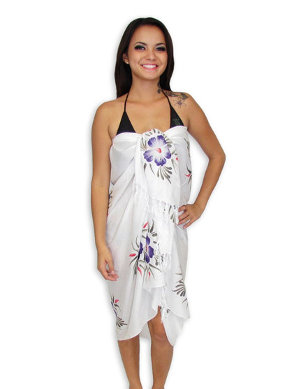 """Island White Sarong with Purple Hibiscus 100% Rayon Color: White Size: 62"""" X 46"""" inches"""