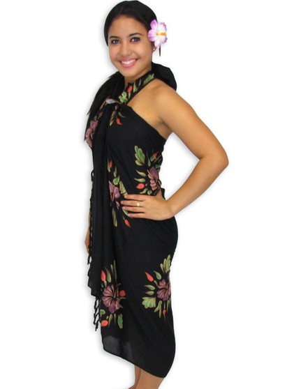 Aloha Hibiscus Sarong - Black A Black Sarong with a Hibiscus Flower Style. 100% Rayon Fabric Color: Black Size: 62 inches X 46 inches Imported