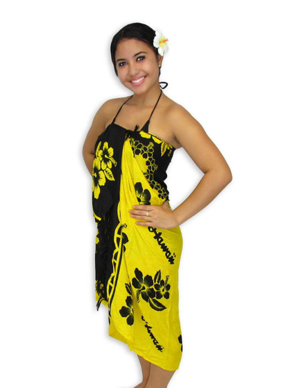 """Black-Yellow Hibiscus Sarong 100% Rayon Color: Black/Yellow Size: 62"""" X 46"""" inches (157.48 X 116.84 Centimeters)"""