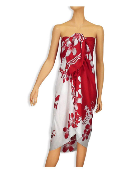 "Sarong with a White/Red Plumeria Style 100% Rayon Color: White/Red Size: 62"" X 46"" inches (157.48 X 116.84 Centimeters)"