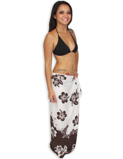 """Hawaiian Sarong with Brown and White Hibiscus Our pretty Sarong comes with a Brown and White Hibiscus Style 100% Rayon Color: Brown/White Size: 62"""" X 46"""" inches (157.48 X 116.84 Centimeters)"""
