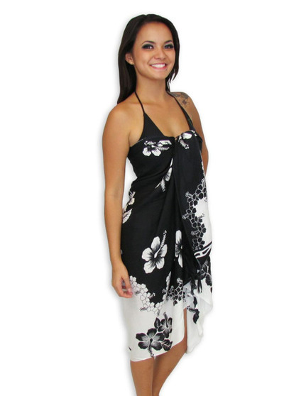 """Black and White Hibiscus Sarong 100% Rayon Color: Black/White Size: 62"""" X 46"""" inches (157.48 X 116.84 Centimeters)"""