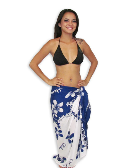"""Beach Navy-White Plumerias Sarong Flirty and feminine, this Tropical Sarong wrap is a versatile wardrobe addition 100% Rayon Color: Navy/White Size: 62"""" X 46"""" inches (157.48 X 116.84 Centimeters)"""