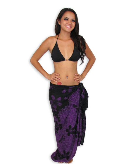 "Hawaiian Sarong with Hot Purple Black Plumeria 100% Rayon Color: Purple/Black Size: 62"" X 46"" inches (157.48 X 116.84 Centimeters)"