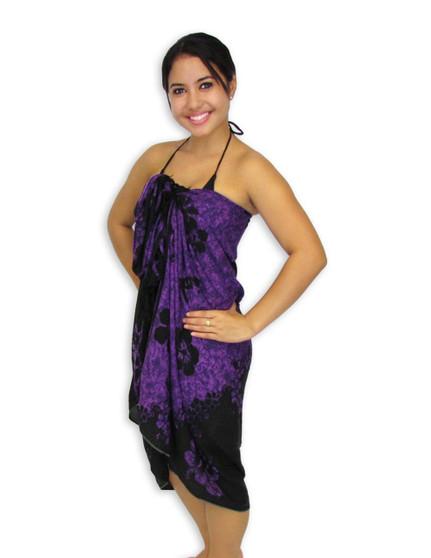 "Purple-Black Hibiscus Aloha Sarong 100% Rayon Color: Purple/Black Size: 62"" X 46"" inches (157.48 X 116.84 Centimeters)"