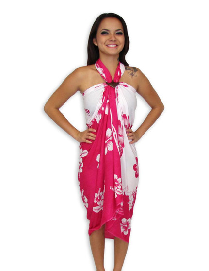 """Island White-Pink Sarong with Hibiscus Design 100% Rayon Color: White/Pink Size: 62"""" X 46"""" inches (157.48 X 116.84 Centimeters)"""