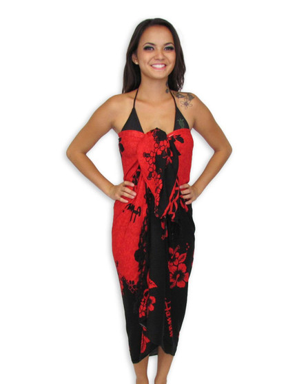 Tropical Pareo Sarong - Red Hibiscus Our Tropical Sarong has a Red Hibiscus Design 100% Rayon Fabric Color: Red/Black Braided Fringe 2 Inches Long Size: 62 x 46 Inches (157.48 X 116.84 Centimeters)