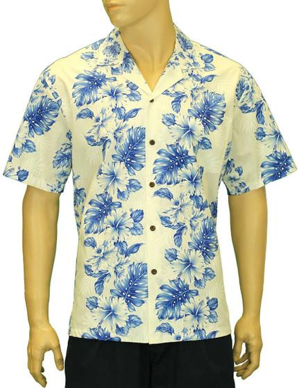 Hawaiian Aloha Shirt Haku Laape White Royal Blue 100% Cotton Fabric Open Pointed Folded Collar Genuine Coconut Buttons Seamless Matching Left Pocket Color: White Royal Blue Sizes: S - 4XL Care: Machine Wash Cold, Cool Iron Made in Hawaii - USA