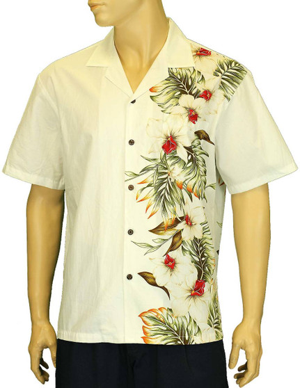 Hawaiian Aloha Shirt Side Black Border Band Hilo 100% Cotton Fabric Open Pointed Folded Collar Genuine Coconut Buttons Seamless Matching Left Pocket Color: White Sizes: S - 4XL Care: Machine Wash Cold, Cool Iron Made in Hawaii - USA