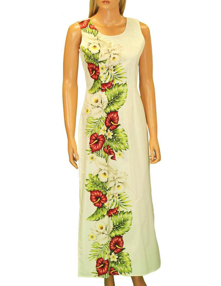 "Long Maxi Cocktail Hawaiian Dress Alika •	Long Maxi Tank Design •	100% Cotton Fabric •	2 Slits - 19"" Long on Both Sides •	Back Zipper •	Color: White •	Sizes: S - 2XL Made in Hawaii - USA"