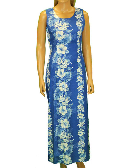 "Long Tank Hawaiian Royal Blue Dress Haku Laape 100% Cotton Fabric 2 Slits - 19"" Long on Both Sides Color: Royal Blue Sizes: S - 2XL Made in Hawaii - USA Matching Items Available"