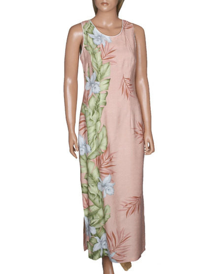 Orchid Panel Maxi Long Cocktail Hawaiian Dress Light Blue 100% Rayon Dobby Fabric Long Maxi Style with Seamless Back Zipper Natural Waist and Flowy Straight Skirt Tank Straps A-Line Style Sizes: S - 4XL Color: Coral Made in Hawaii - USA