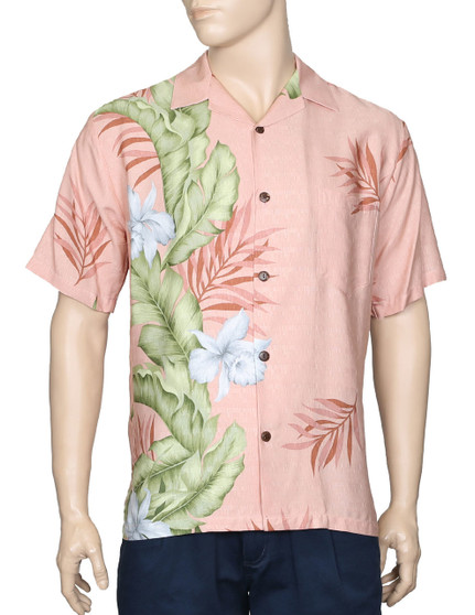 Aloha Hawaii Shirt Elegant Orchid Panel 100% Rayon Dobby Fabric - Soft and Classy Open Collar - Relaxed Modern Fit Coconut Shell Buttons - Seamless Matching left pocket Color: Coral Sizes: S - 3XL Made in Hawaii - USA