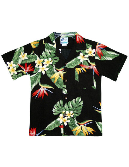 Boy's Hawaiian Rayon Shirt Birds of Paradise 100% Cotton Fabric Open Pointed Folded Collar Genuine Coconut Buttons Machine Wash Cold Cool Iron Color: Black Sizes: 2 - 16 Made in Hawaii - USA