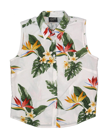 Birds of Paradise Sleeveless Tank Blouse 100% Rayon Soft Fabric Collar Tank Top Blouse Curved Hemline Colors: White Sizes: XS - 3XL Made in Hawaii - USA