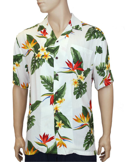 Birds of Paradise Men's Hawaiian Rayon Shirts 100% Rayon Coconut shell buttons Matching left pocket Color: White Sizes: S - 3XL Made in Hawaii - USA