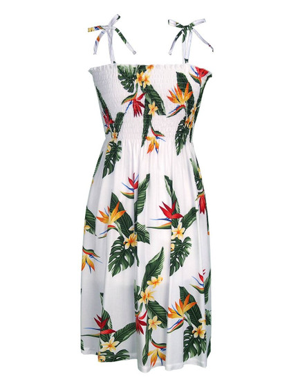 Smocked Hawaiian Dress Birds of Paradise 100% Rayon Fabric Smock Tube Top Dress Style Tie On Shoulder Tie Halter Style Wear Strapless Option Colors: White Sizes: XS - XL Made in Hawaii - USA
