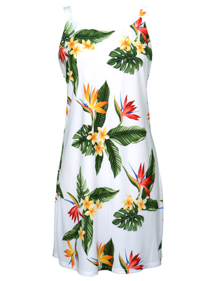 Birds of Paradise Short Hawaiian Dress 100% Rayon Fabric Comfortable Bias Cut Dress Tank Slimming Design Back Zipper Colors: White Sizes: XS - 2XL Made in Hawaii - USA