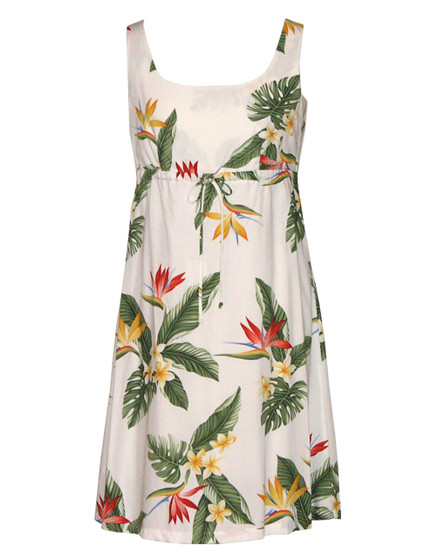 White Dress Birds of Paradise Adjustable Front Tie 100% Rayon Front String Tie Easy Adjustable Fit Square Neck Design Empire Drawstring Look Color: White Sizes: XS - 3XL Made in Hawaii - USA