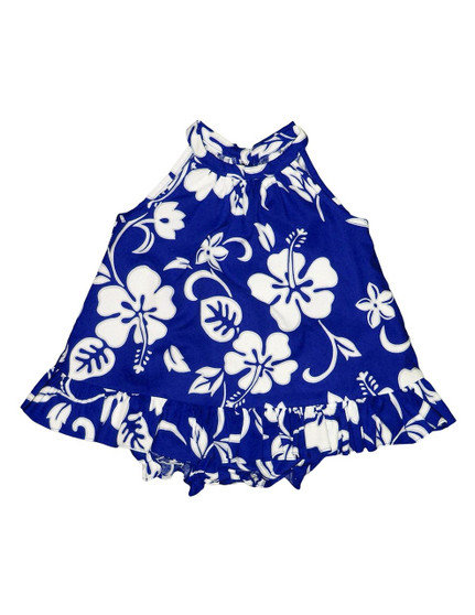 Baby Girl Halter Flower Dress Set 2 Piece Classic Hibiscus Includes a Comfortable Top and Matching Bottom Diaper Cover 100% Cotton Color: Royal Sizes: 6M - 4T Made in Hawaii - USA