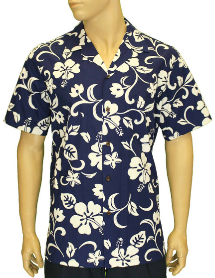 Aloha Shirt Classic Hibiscus 100% Cotton Fabric Open Pointed Folded Collar Genuine Coconut Buttons Seamless Matching Left Pocket Color: Royal Sizes: S - 4XL Care: Machine Wash Cold, Cool Iron Made in Hawaii - USA