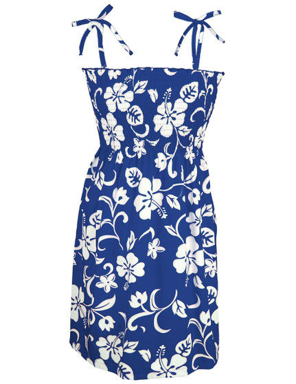 Smock Top Hawaiian Dress Classic Hibiscus 100% Cotton Fabric Smock Tube Top Design Tie On Shoulder or Halter Style Wear Strapless Option Color: Royal Sizes: S - XL Made in Hawaii - USA