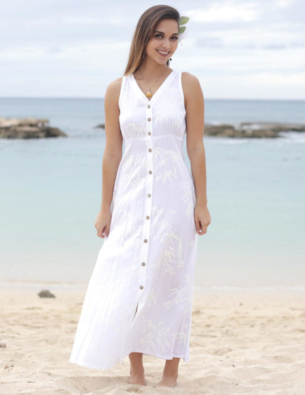 Maxi White Wedding Dress Bamboo Design 100% Rayon Fabric - Soft and Classy Authentic Wooden Buttons V-Neck Line and Side Pockets 19 Inches Long Slits in Both Sides Back Tie with 3 Height Adjustments Color: White Sizes: S - 2XL Made in Hawaii - USA
