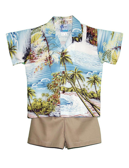 2 Piece Set Toddler Boy's Clothes Island Paradise 2 Piece Set - Shirt and Shorts 100% Rayon Fabric Genuine Coconut Buttons Short's Elastic Waist Matching Fabric Design Color: Blue Sizes: 1T, 2T, 4T, 6T Made in Hawaii - USA