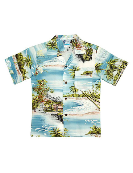 Boy's Aloha Shirt Island Paradise 100% Rayon Fabric Open Pointed Folded Collar Genuine Coconut Buttons Machine Wash Cold Cool Iron Color: Blue Sizes: 2 - 14 Made in Hawaii - USA