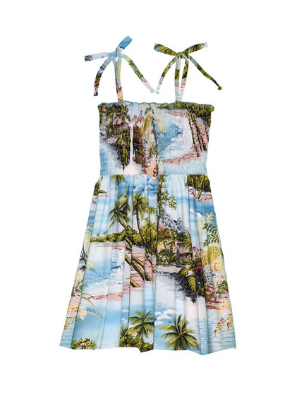 Girl's Smock Top Dress Island Paradise 100% Rayon Fabric Tie On Shoulder Tie Halter Style Color: Blue Sizes: 2 - 14 Made in Hawaii - USA