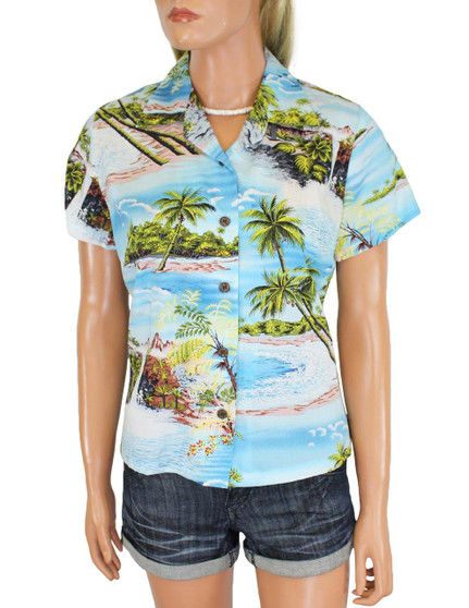 Women's Hawaiian Shirt Island Paradise 100% Rayon Fabric Slimming Darted Back Cap Sleeves Comfortable Fit Design Coconut Shell Buttons Multi Color Selection Color: Blue Sizes: S - 2XL Made in Hawaii - USA