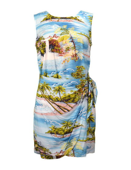 Island Paradise Short Sarong Rayon Dress 100% Rayon Fabric Back Zipper Tummy Concealing Front Panel Waist Adjustable Side Tie Color: Blue Sizes: XS-2XL Made in Hawaii - USA