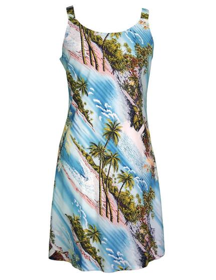 Short Hawaiian Dress Island Paradise 100% Rayon Fabric Comfortable Bias Cut Dress Tank Slimming Design Back Zipper Color: Blue Sizes: XS - 2XL Made in Hawaii - USA