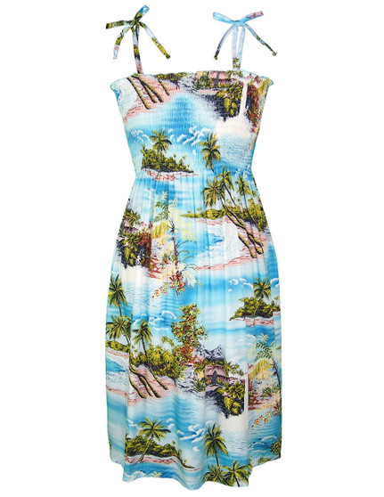 Knee Length Smock Aloha Dress Island Paradise 100% Rayon Fabric Smocked Tube Top Design Knee Length Dress Tie On Shoulder or Halter Style Wear Strapless Option Color: Blue Sizes: XS - XL Made in Hawaii - USA