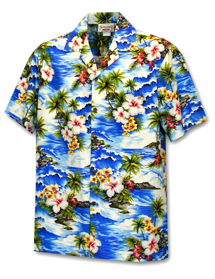 Hookipa Hibiscus Flower Hawaiian Men's Shirt 100% Cotton Fabric Coconut shell buttons Matching left pocket Color: Blue Size: S - 4XL Made in Hawaii - USA