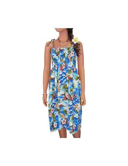 """Tube-Top Mid Length Hookipa Hibiscus Dresses 100% Cotton Fabric Color: Blue Length: 33"""" (mid size) Size: One Size fits most From: S - 2XL Made in Hawaii - USA"""