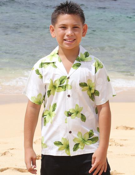 Hawaiian Cotton Boy's Shirt - Koala This Cotton Shirt for Boys comes with a vibrant Plumeria Design. Your Boy will look handsome at your fun tropical party! 100% Cotton Coconut shell buttons  Color: Lime Sizes: S - XL Made in Hawaii - USA