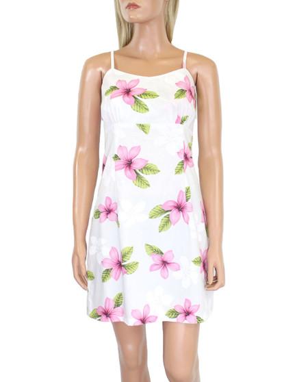Short Spaghetti Straps Hawaiian Dress Koala Beach  100% Cotton Fabric Adjustable Straps and Back Zipper Color: Pink Sizes: S - XL Made in Hawaii - USA