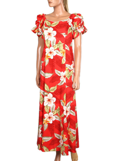 Long Rayon Muumuu Ula Ula Hibiscus 100% Rayon Fabric Color: Red Sizes: S - 2XL Made in Hawaii - USA