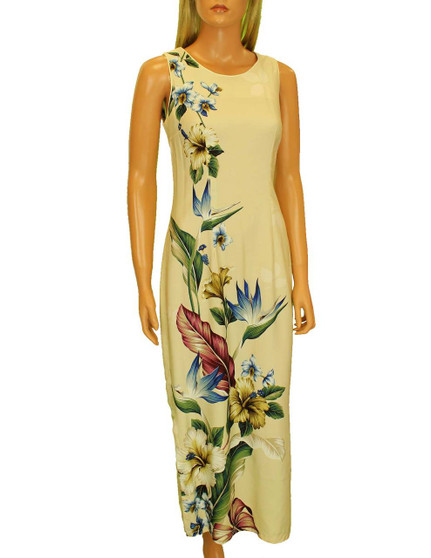 Long Maxi Hawaiian Dress Birds of Paradise Hibiscus Design 100% Rayon Poplin Long Maxi Fitted Style Round Neckline Covered Back Zipper Knee-high Side Slit Sizes: S - 3XL Color: Beige Made in Hawaii - USA